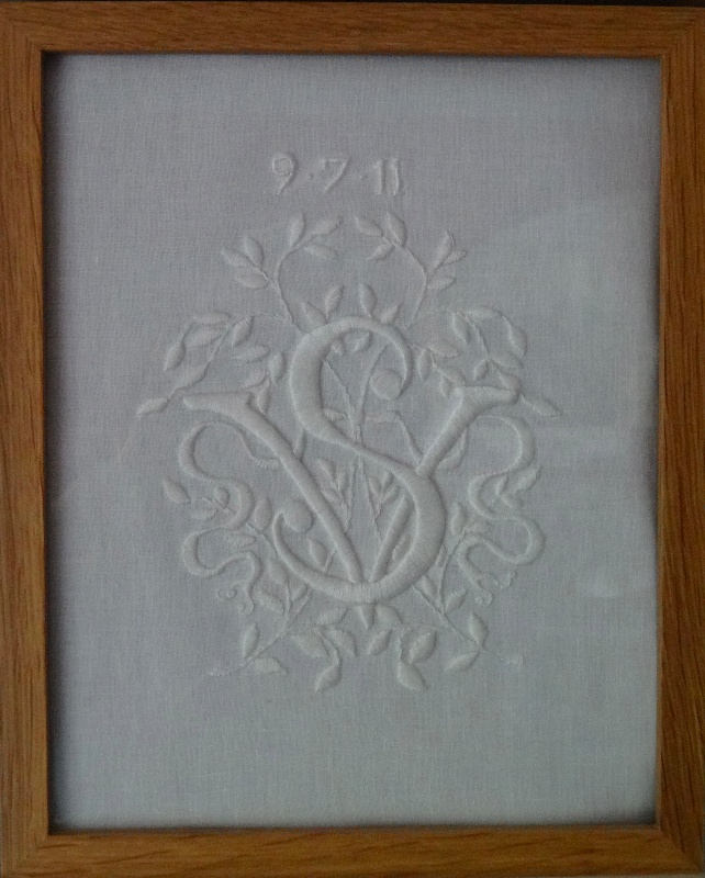 V s whitework monogram addison embroidery at the vicarage