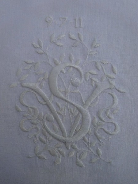 VS whitework monogram (hand embroidered by Mary Addison)