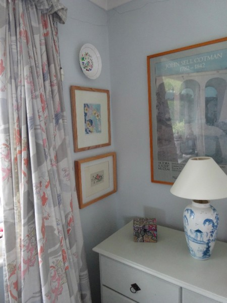 Duncan Grant Apollo and Daphne  fabric (reprinted by Laura Ashley, late 1980s) in Ipsden Vicarage.