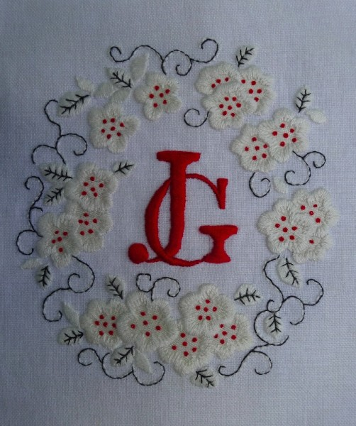 J g monogram addison embroidery at the vicarage