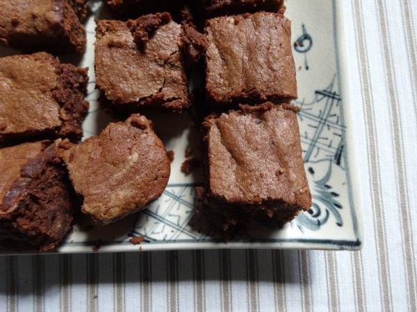 Chestnut Brownies (Dan Lepard's recipe but using Amaretto liquer instead of rum); served on a Vietnamese pottery platter