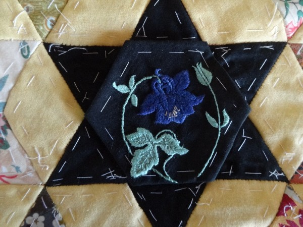 Altar frontal for Ipsden Ch. Oxon: aquilegia (hand embroidered by Mary Addison)
