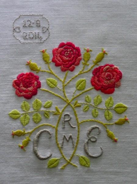 Arts and Crafts style rose monogram (hand embroidered by Mary Addison)