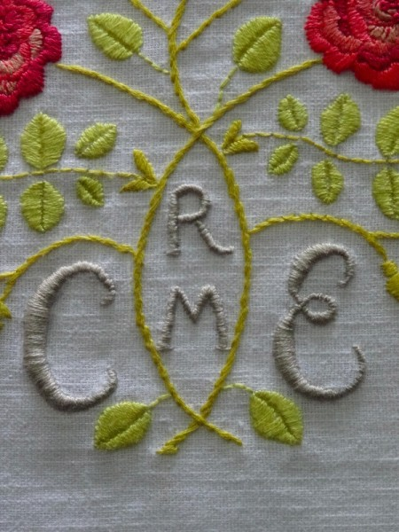 Arts & Craft Gimson style rose monogram (hand embroidered by Mary Addison)