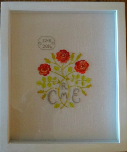 Arts & Craft Gimson style rose monogram (hand embroidered by Mary Addsion)
