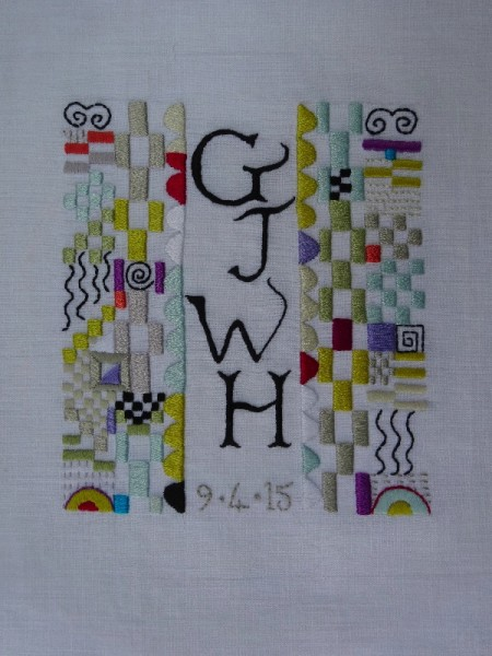 Building block monogram: a baptismal present for a baby boy (hand embroidered by Mary Addison)