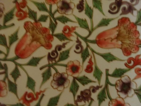 Korean ceramic platter: detail of flower painting