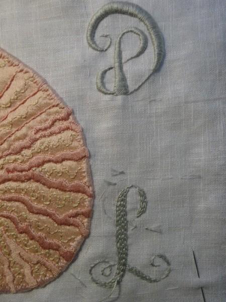 DL  Monogram : work in progress showing chain stitch padding