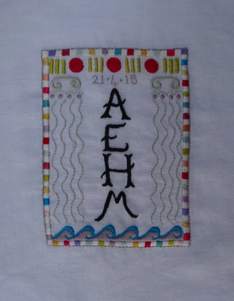 AEHM monogram (hand embroidered by Mary Addison)