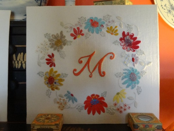 Embroidered initial M