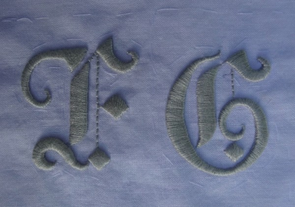 Gothic wedding monogram F G (hand embroidered by Mary Addison)