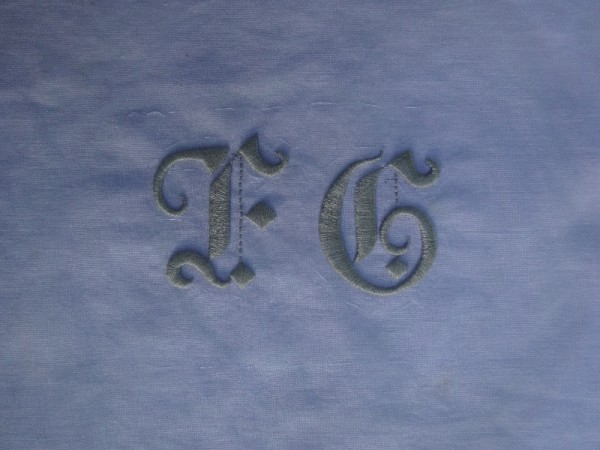 Gothic style F & G wedding monogram (hand embroidered by Mary Addison)