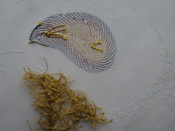 Goldwork sampler: underside - forest of  plunged  threads awaiting treatment