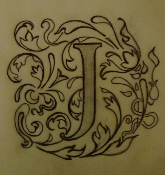Design for J monogram for hand towel