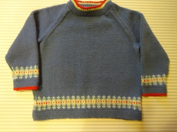 Debbie Bliss raglan sweater with a little Fair Isle bands
