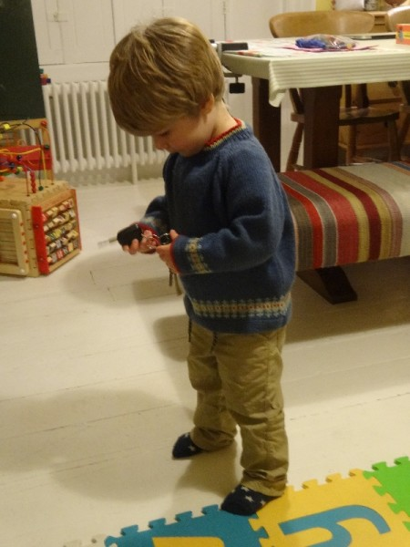 Boy's jumper: detail of Fair Isle pattern (both jumper pattern and Fair Isle are from Debbie Bliss's Baby Cashmerino book 5)