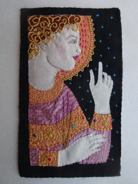 Angel Gabriel Annunciate: Embroidered Christmas  card 2015 (hand embroidered by Mary Addison))