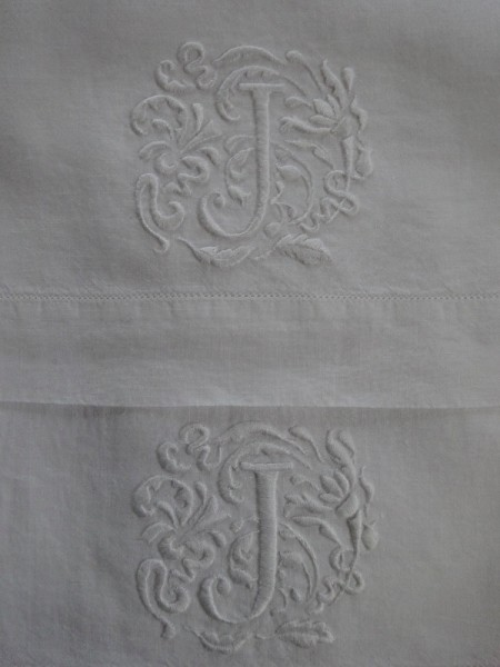 Hand towels with embroidered J monogram (hand embroidered by Mary Addison)