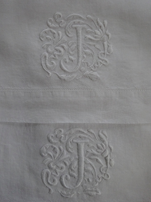 Hand Towels With Whitework Hand Embroidered Monogram J Addison