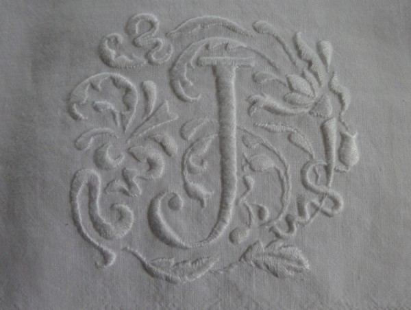 Hand towel No 2 with J monogram in Renaissance style (hand embroidered by Mary Addison)