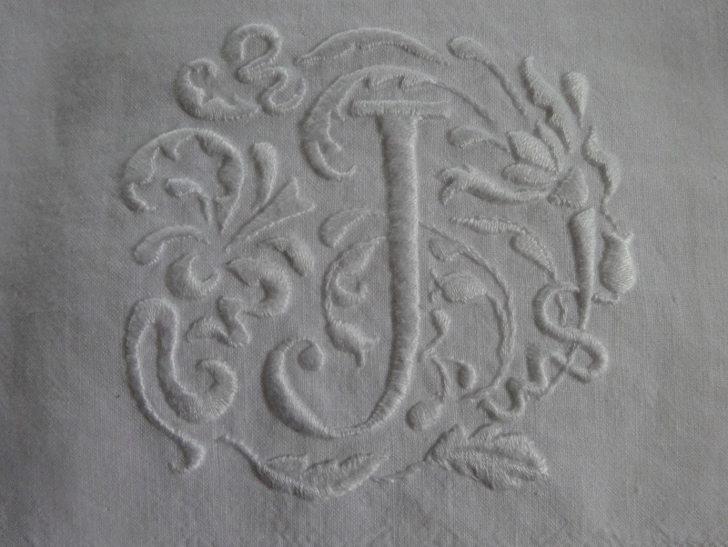 Hand towel No 2 with J monogram in Renaissance style (hand embroidered by  Mary Addison