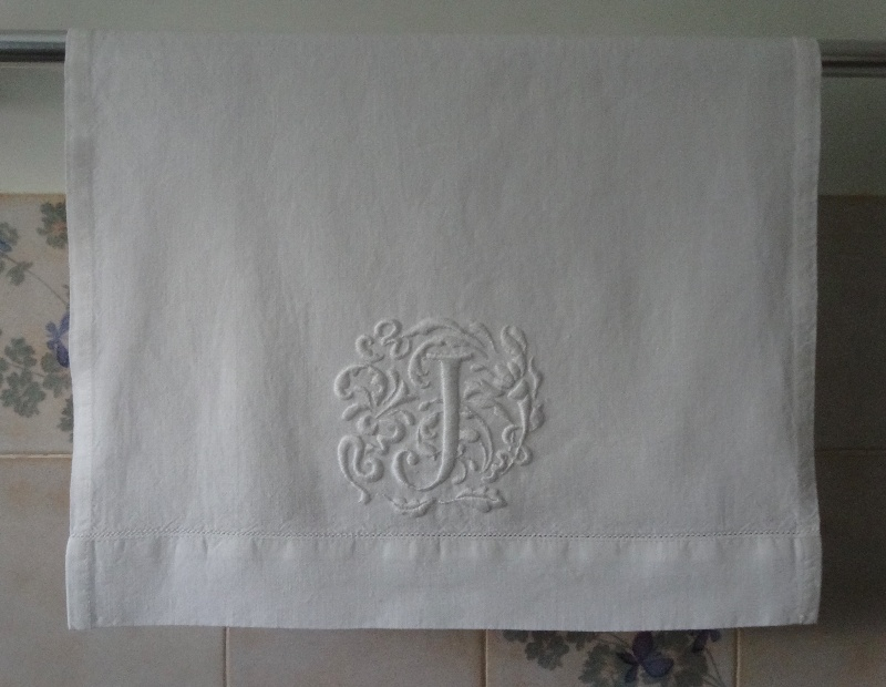 Hand towel with J monogram in Renaissance style (hand embroidered by Mary  Addison)