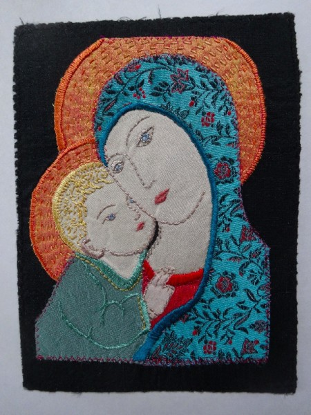 Madonna and Child (hand embroidered for 2013 Christmas card by Mary Addison)