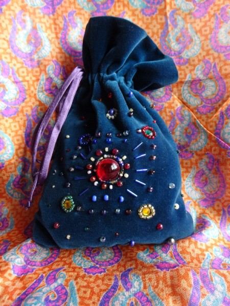 Little jewelled bag: reverse (hand embroidered by Mary Addison)