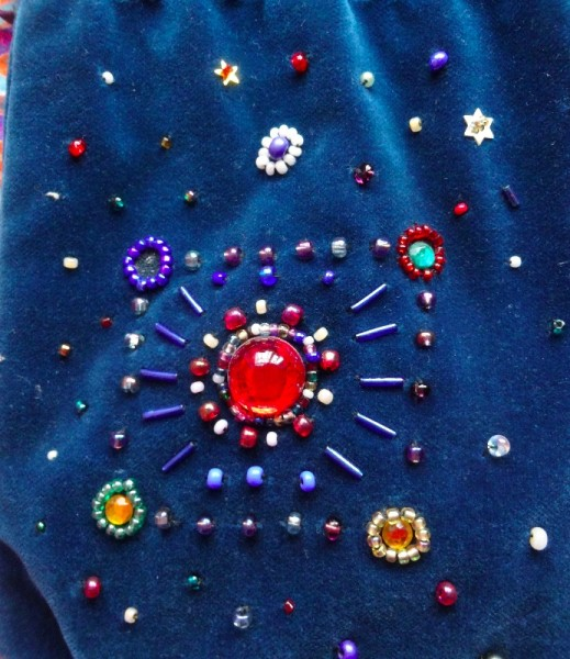 Detail of little jewelled bag (hand beaded by Mary Addison)