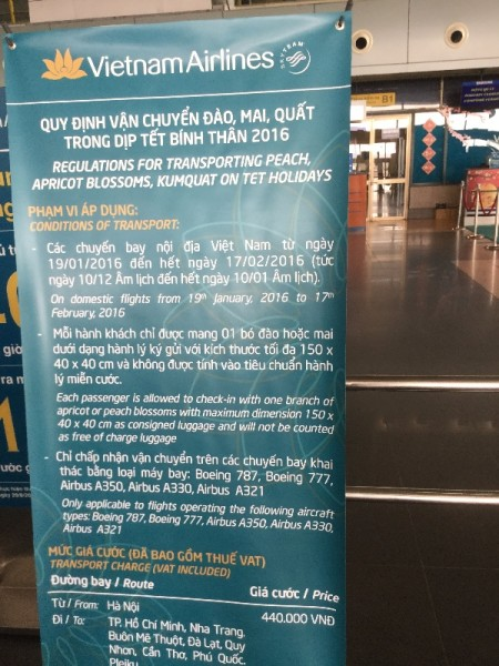 Hanoi: Vietnamese Airline's notice about  taking Tet flowers onboard