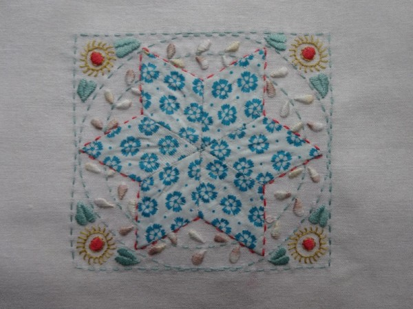 Embellished patchwork star  (hand embroidered by Mary Addison)