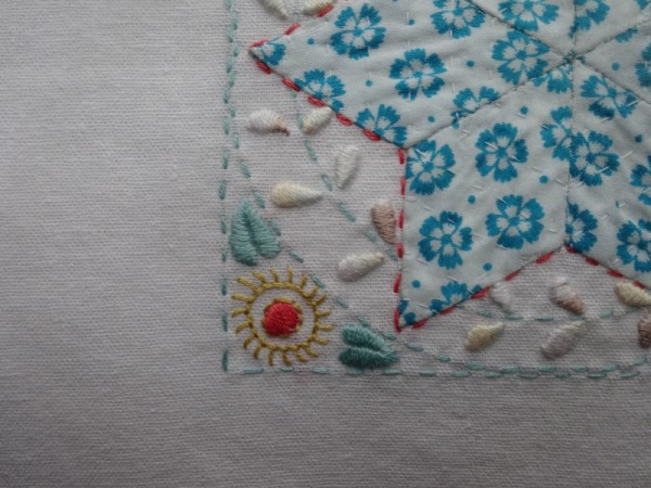 Embellished patchwork star: detail   (hand embroidered by Mary Addison)