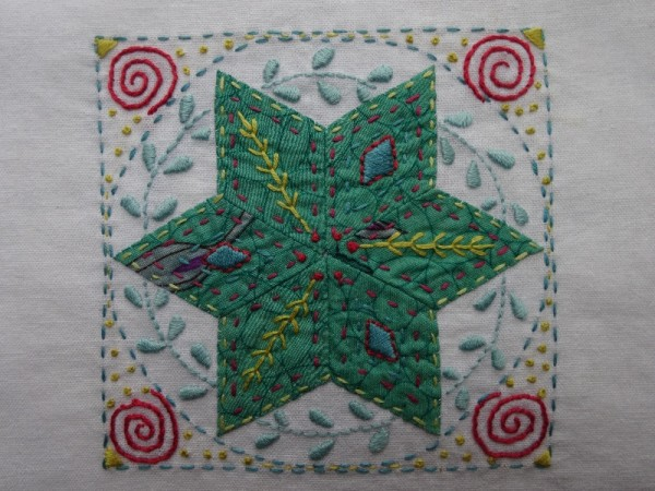 Third embellished patchwork star (hand embroidered by Mary Addison)