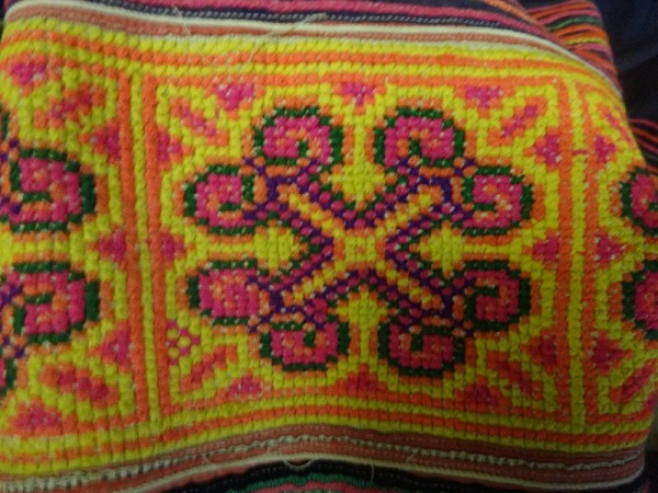 Vietnamese embroidery by the the Red Mong tribe: detail of band around the bottom of a skirt