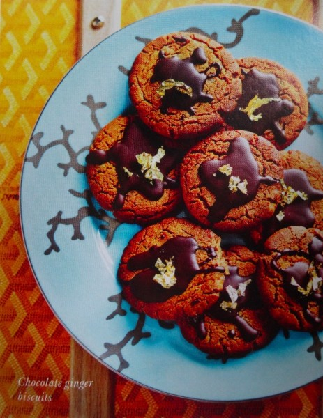 Chocolate ginger biscuits with gold leaf