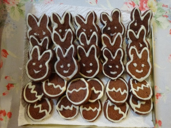 Bunny and egg biscuits for Easter