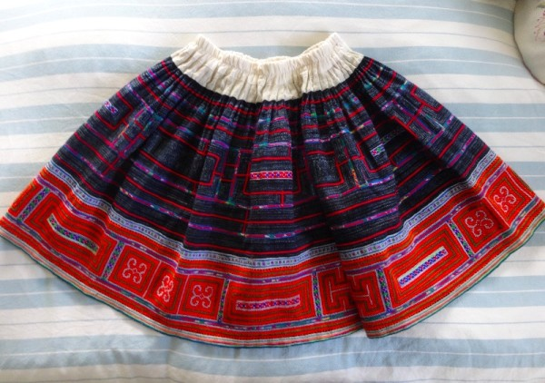 Vietnamese hand embroidered skirt by the Red Mong tribe