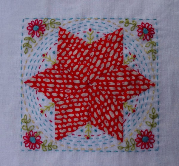 Fourth embellished patchwork star (hand embroidered by Mary Addison)
