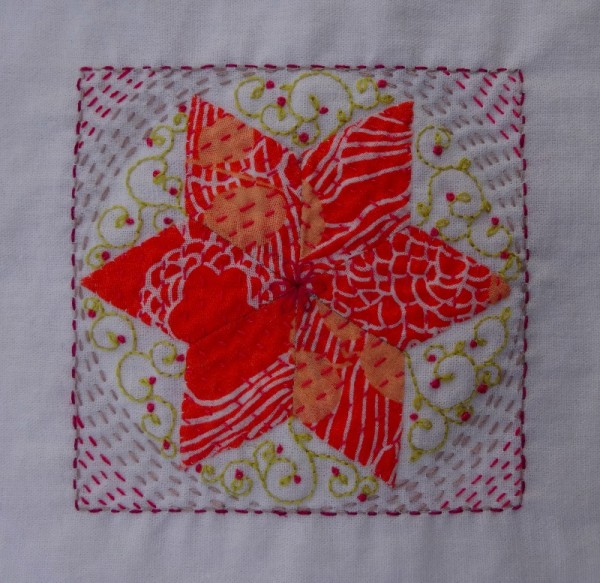 Eleventh embellished patchwork star (hand embroidered by Mary Addison)