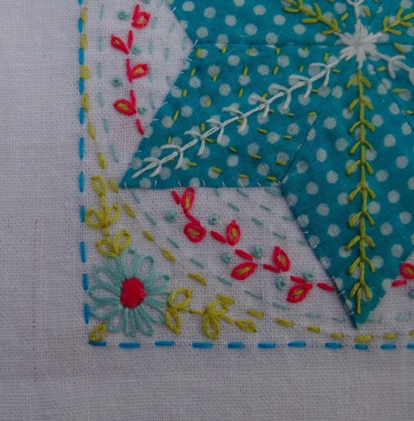 Detail of embroidered patchwork star