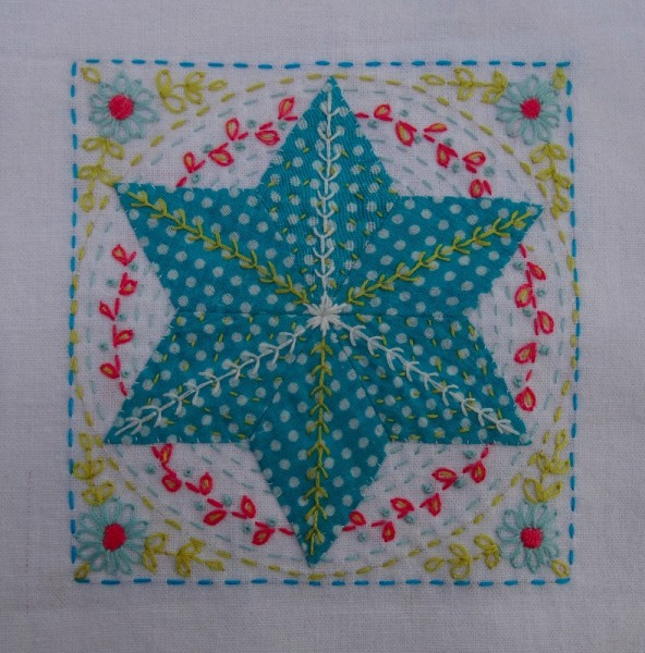 Tenth embellished patchwork star (hand embroidered by Mary Addison)