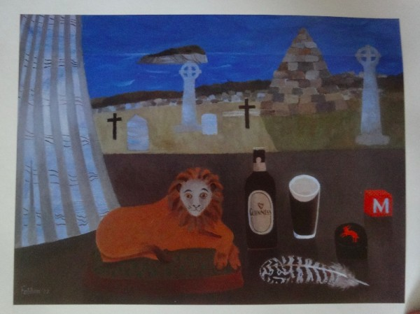 Mary Fedden : Irish Lion - in a private collection (from Mary Fedden: little soft lion (from Mary Fedden: Enigmas & Variations by Christopher Andreae: Lund Humphries); pbk 2014)