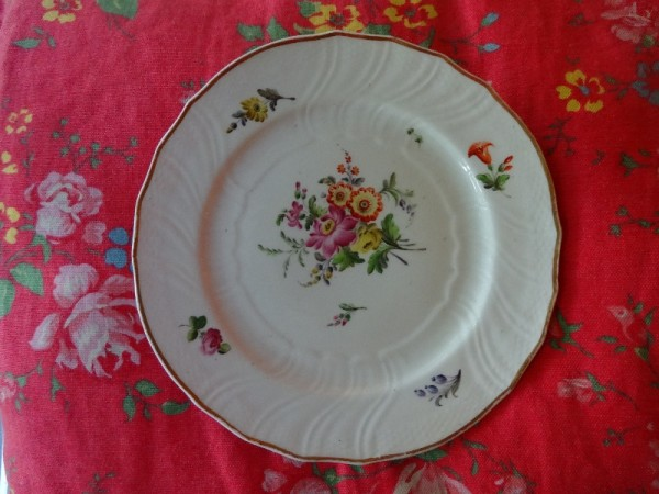 Under the biscuits, an empty plate - Coalport with hand painted flowers