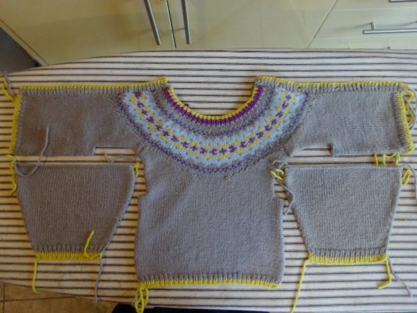 Debbie Bliss cardigan with Fair Isle yoke (for 0-3 month baby ...