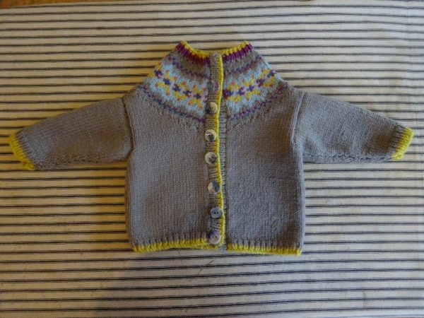 28f5a8f5b Debbie Bliss cardigan with Fair Isle yoke (for 0-3 month baby ...