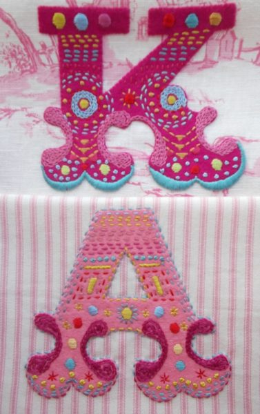 Hand embroidered circus initials K & A for shoe bags